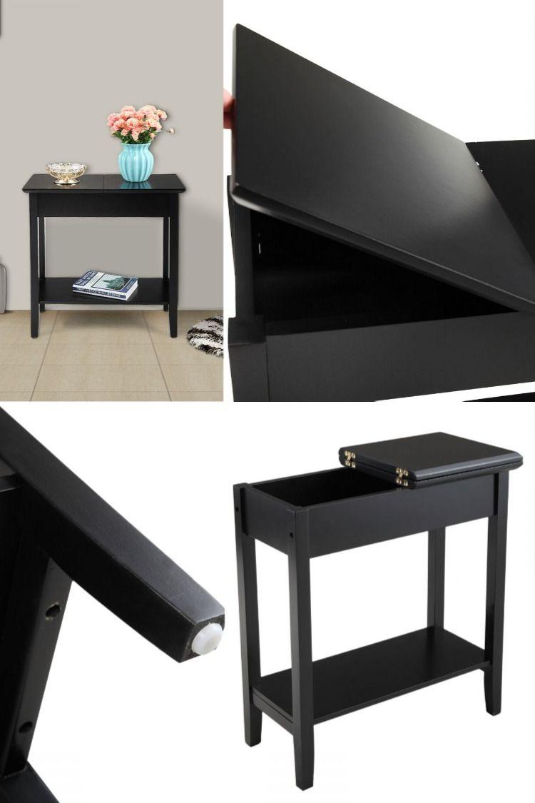 Black Skinny Flip Top End Table With Storage Shelf Side Table With Storage Top Sofas Living Room Sofa