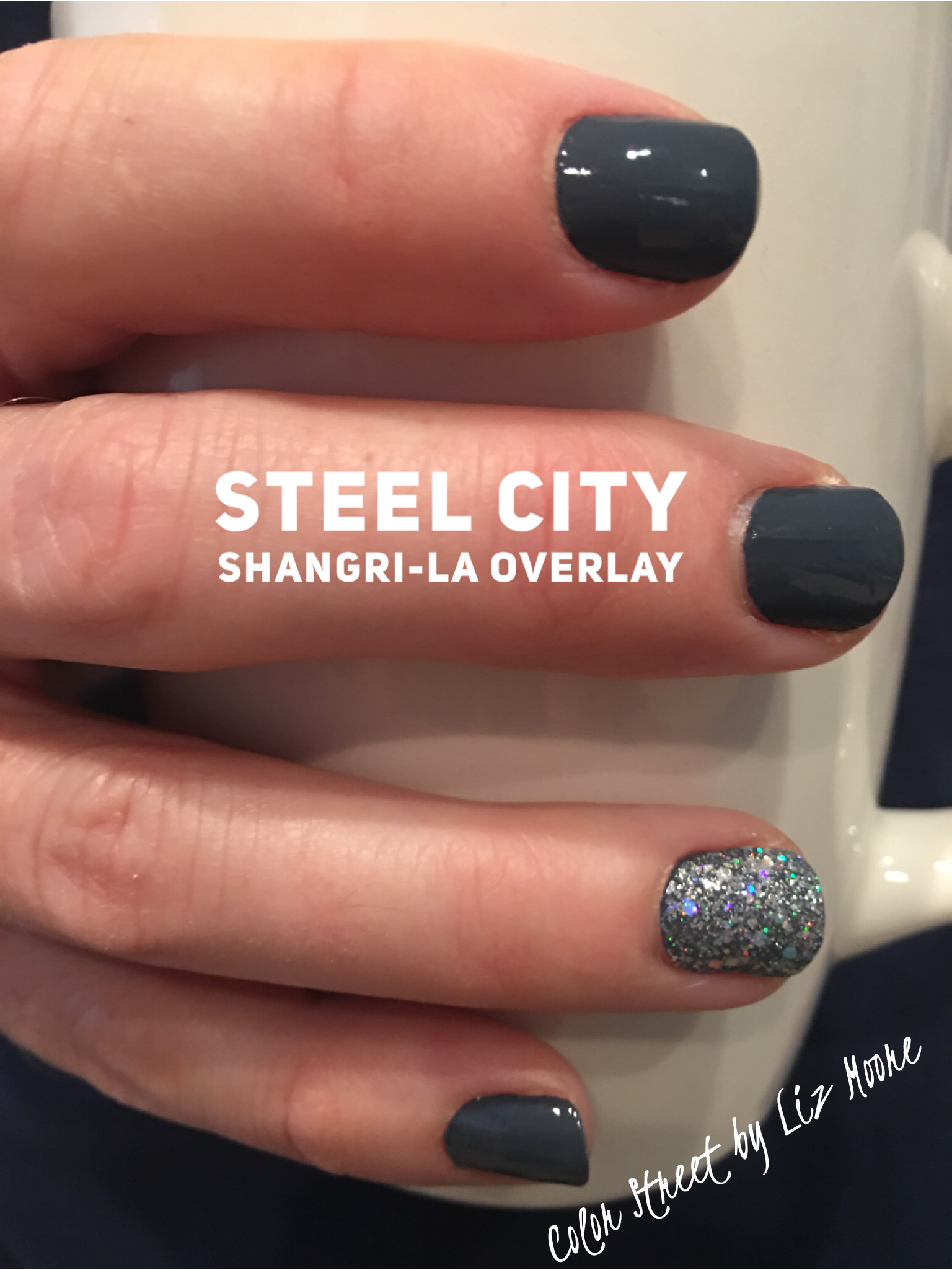 Photo of Color Street Steel City with Shangri-La overlay accent nail is amazing. For more…