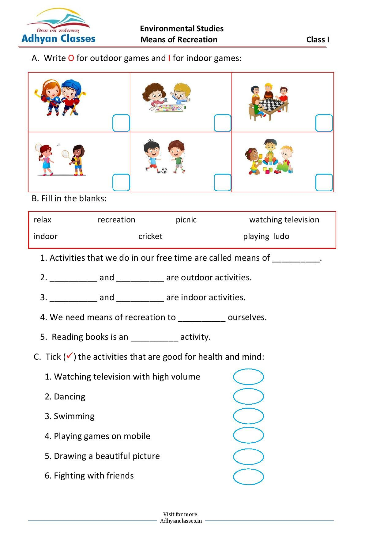 Means of Recreation Worksheet for Grade I   Writing skills [ 1753 x 1241 Pixel ]