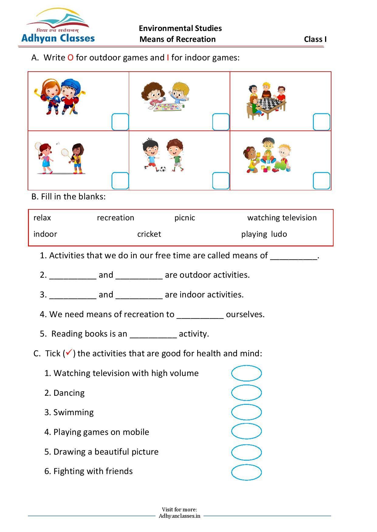 medium resolution of Means of Recreation Worksheet for Grade I   Writing skills