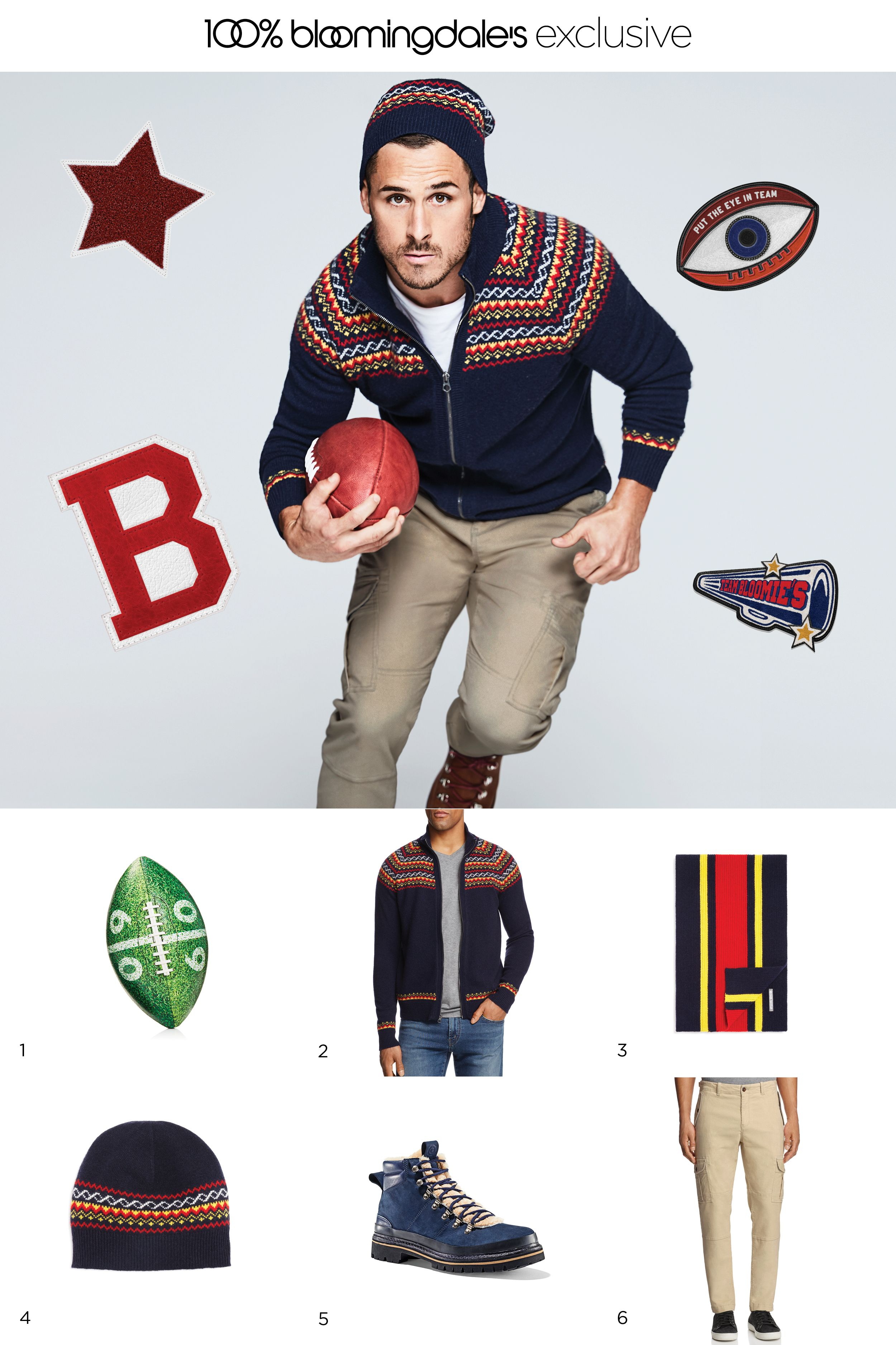 Three cheers! Our new season of designer exclusives has arrived. Shop now! 1. Football, Sprayground; 2. Sweater, Michael Bastian; 3. Scarf, Michael Bastian; 4. Hat, Michael Bastian; 5. Boots, Greats; 6. Pants, Michael Bastian