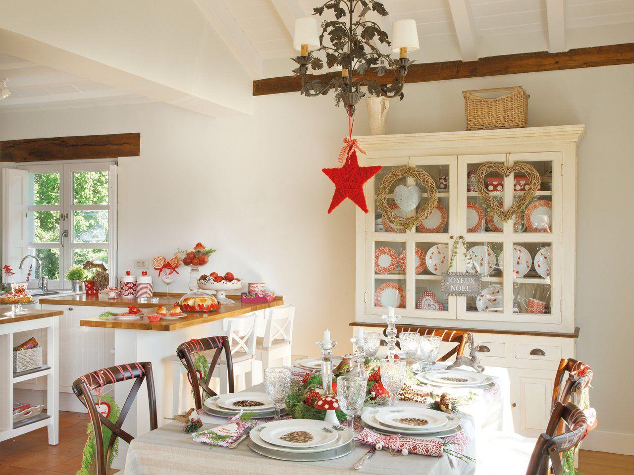 Office de la cocina con decoracion navidena - Decoracion navidena rustica ...