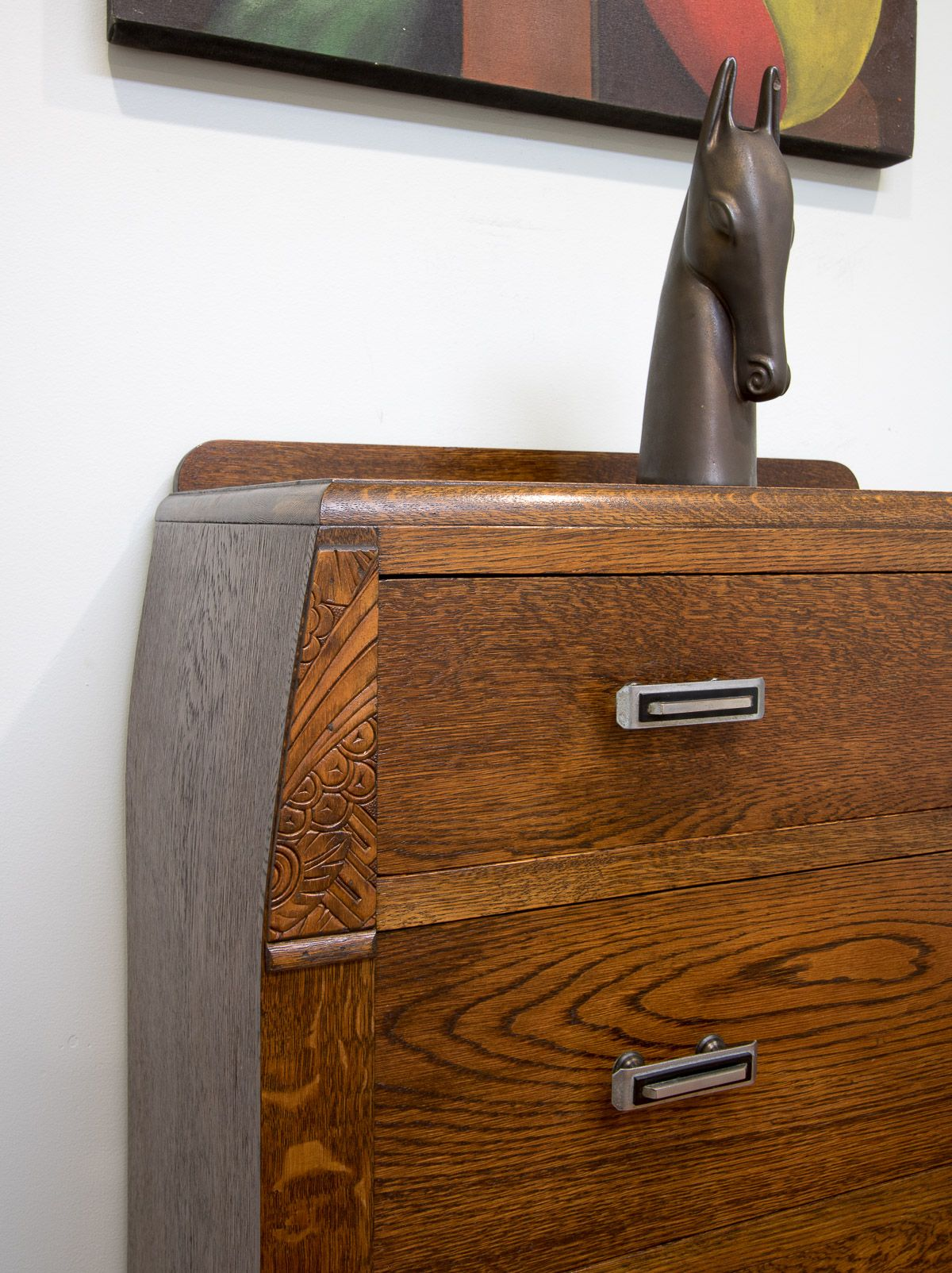 Best Vintage Carved English Oak 4 Drawer Chest Of Drawers Tall Boy – Bow Shape Sides Tall Boys 400 x 300