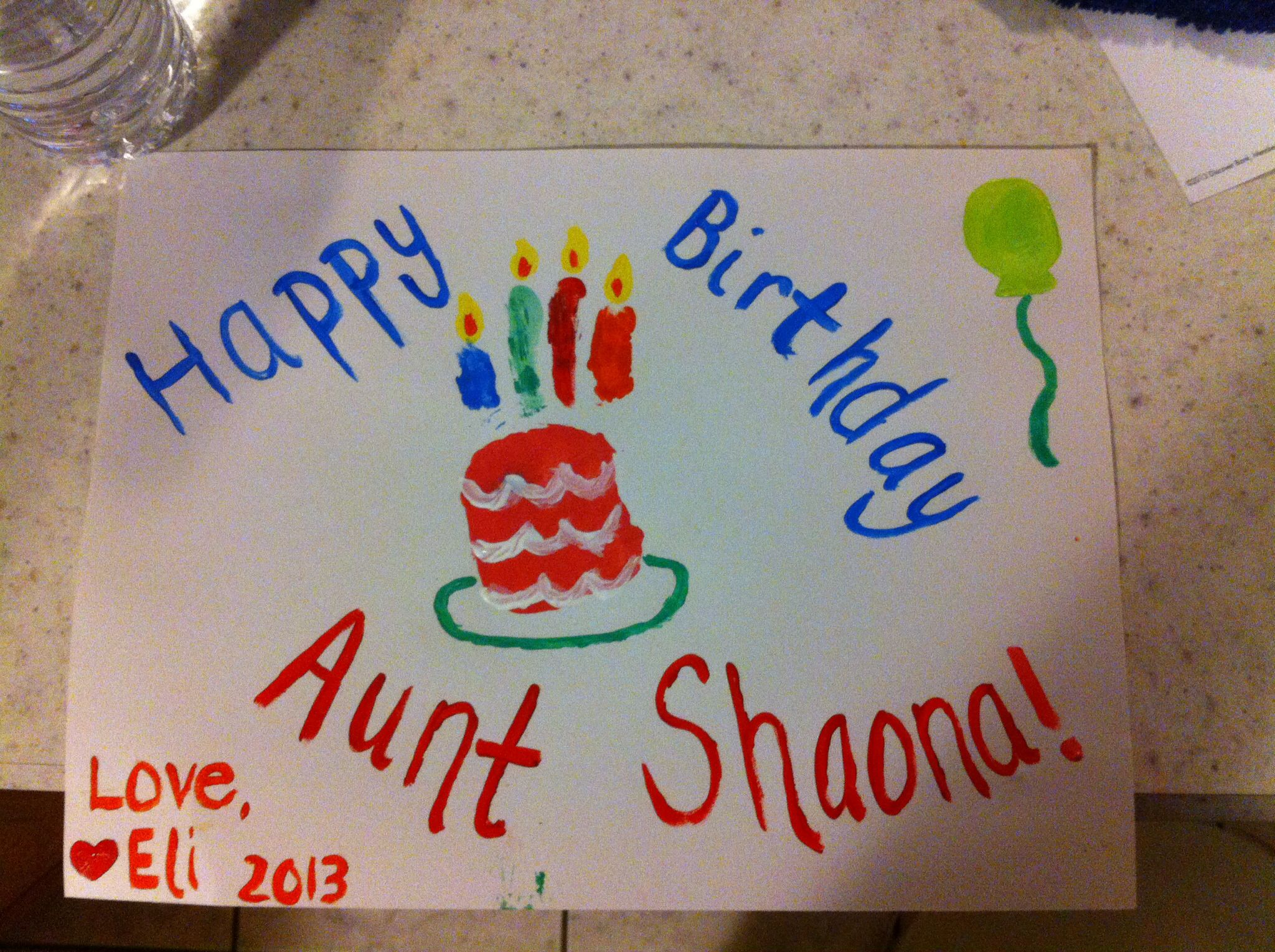 Happy birthday for aunt from toddler craft | Craft ideas | Pinterest