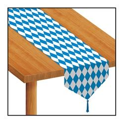 Decorate a coffee table, a serving table, or your beer hall with the bright blue and white colors of Oktoberfest on this paperstock table runner.