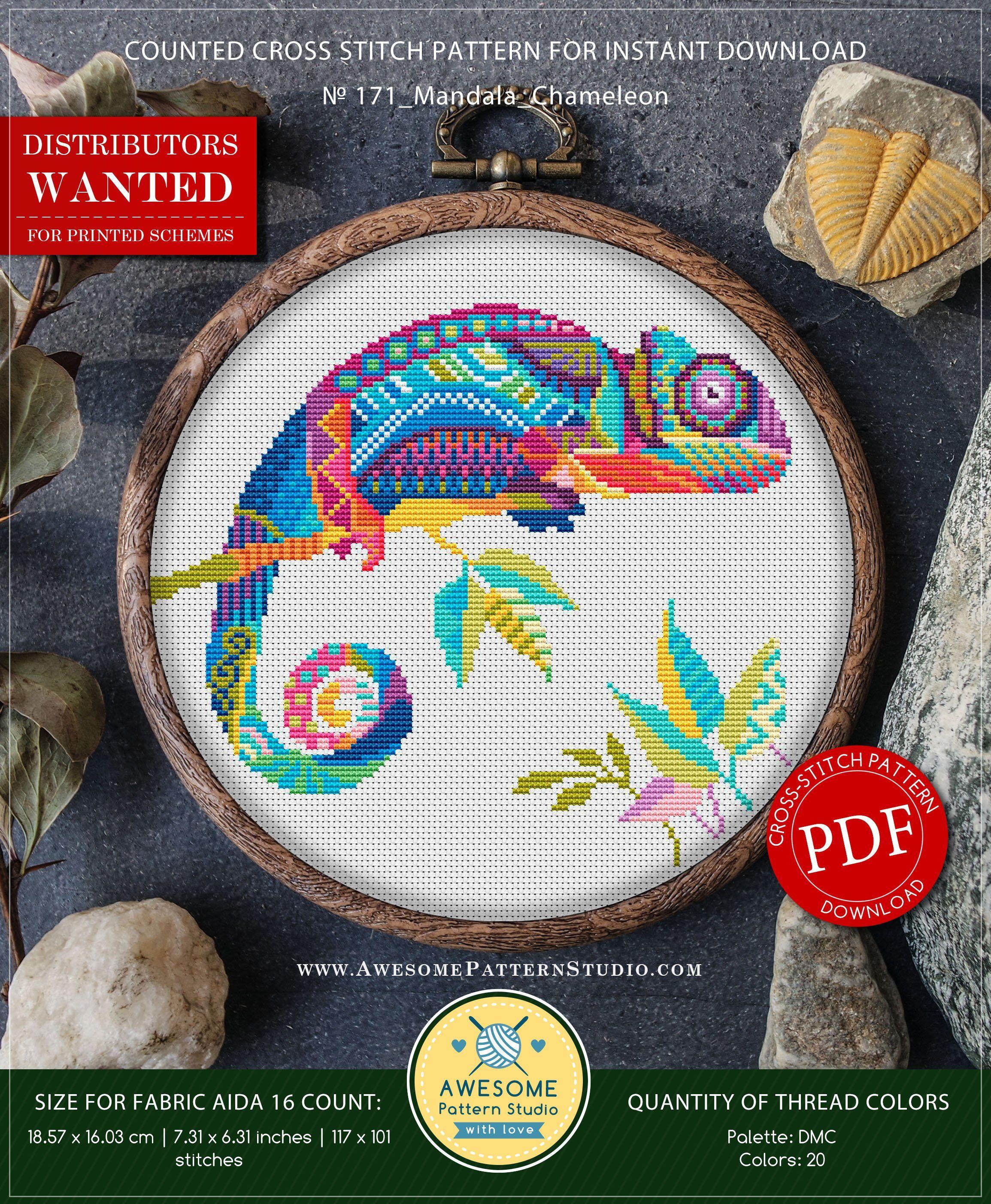 Mandala Chameleon P171 Embroidery Cross Stitch Pattern | Etsy