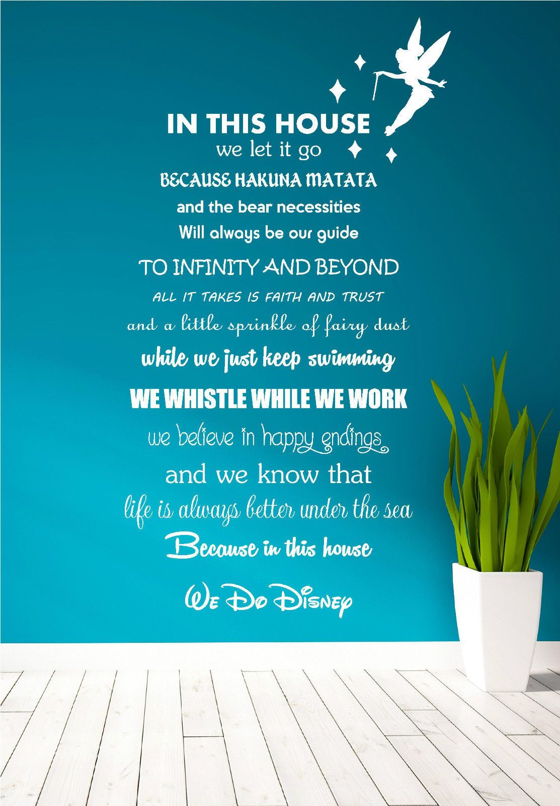 disney quote poem kids family tinkerbell wall art sticker