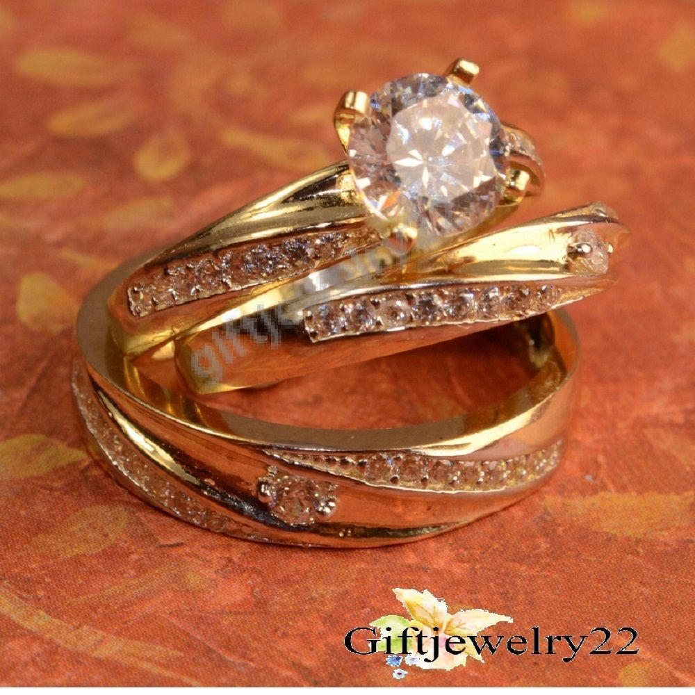 14k Yellow Gold Over Diamond Engagement Band Rings His And Her