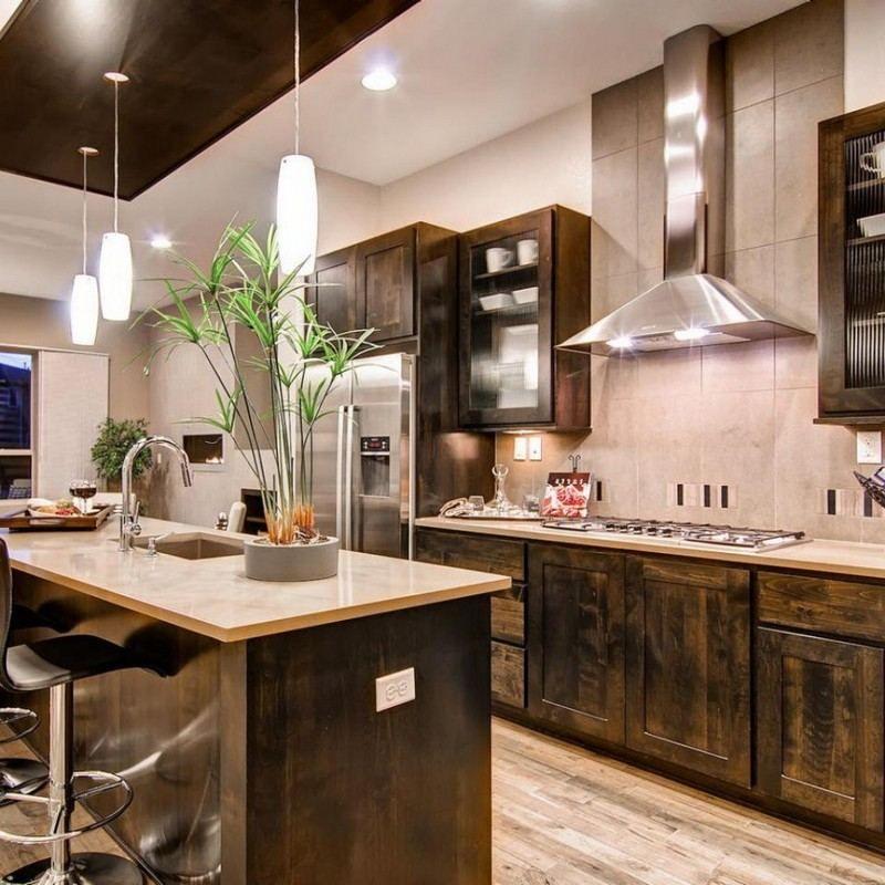 cuisine rustique contemporaine 50 id es de meubles en bois travail en pierre rustique. Black Bedroom Furniture Sets. Home Design Ideas