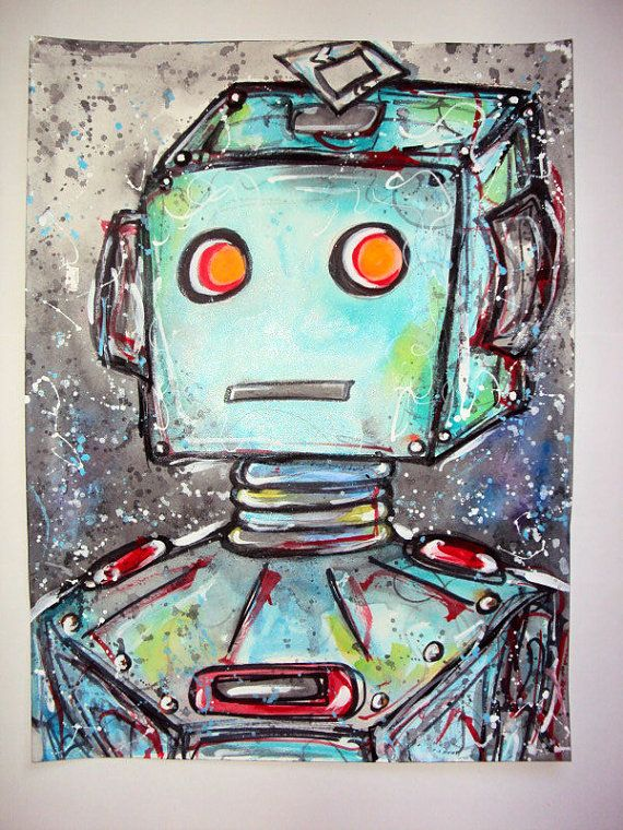 Cute Aqua Mechanical Robot Inspired Watercolor By Visionaryvisage