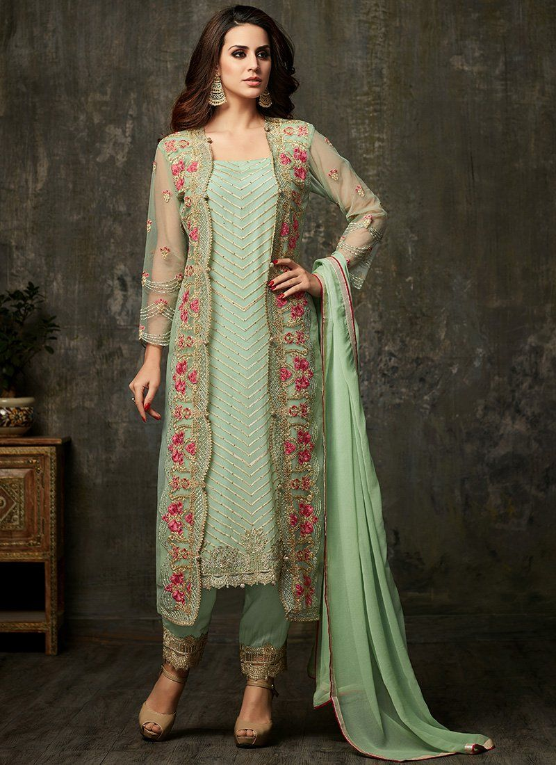 0c4becf7ea Mint Embroidered Georgette Suit | Desi fashion in 2019 | Pakistani ...