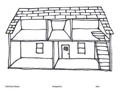 Doll House Coloring Page Background For Paper Doll Play