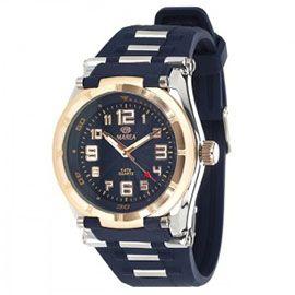 684e8f497370  reloj muy  chulo  de  marea de caja de metal cromado con bisel fijo en  color cobre y con correa de silicona color azul.
