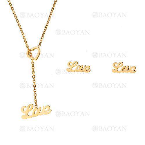 collar y aretes de love de dorado en acero inoxidable-SSNEG483477