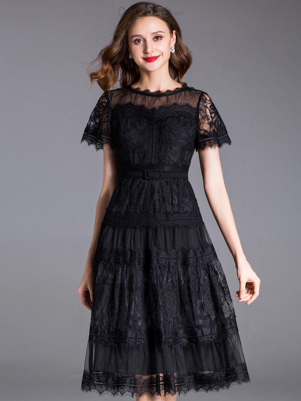 Elegant embroidery short sleeve lace aline dress without belt