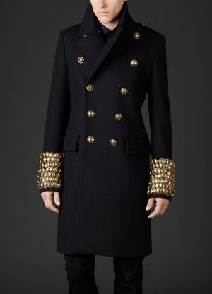 Burberry Prorsum Pressed Wool Military Jacket With Oversize Button ...