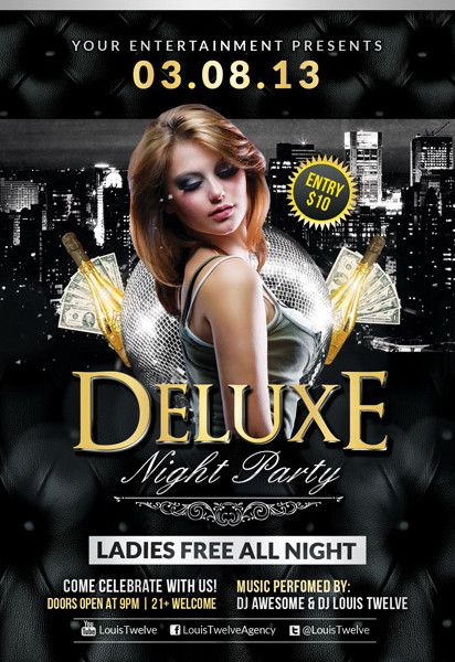 Free Flyer Template: Deluxe Night Club PSD Flyer Template - http ...