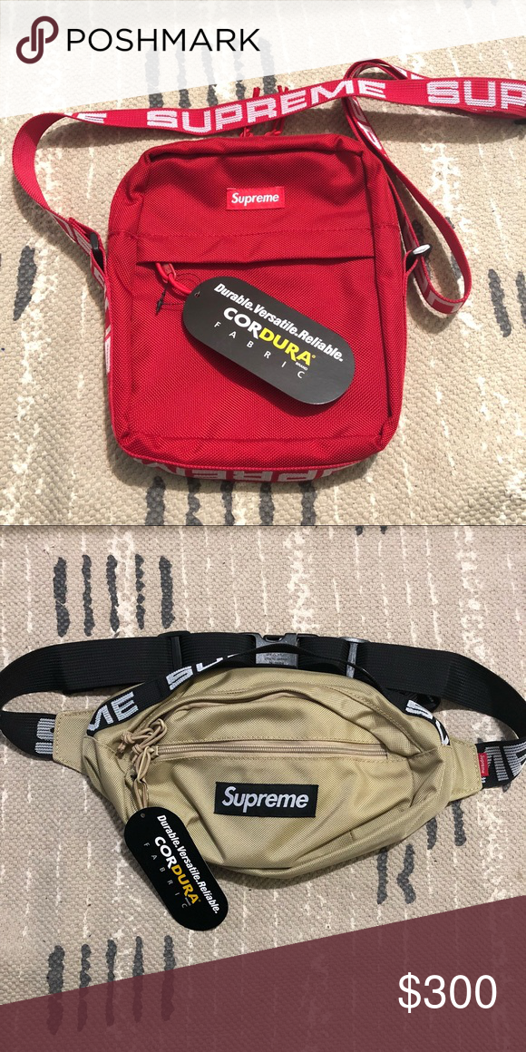 ddcb3451a7c Supreme SS18 Shoulder Bag Red + Tan Waist Bag Supreme SS18 Shoulder Bag Red  + Tan Waist Bag Both 100% authentic Generally ships within 1 business day of  ...