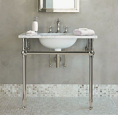 metal console sink with marble