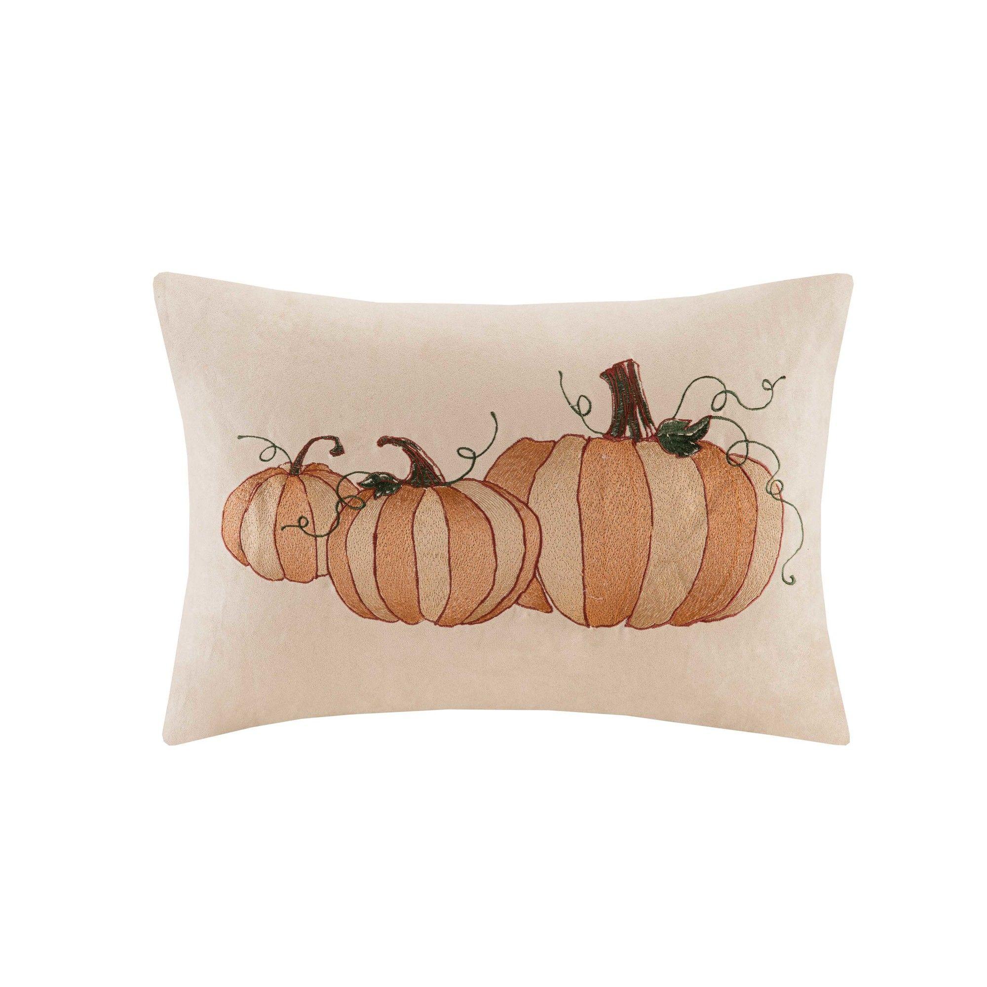 Pumpkin Embroidered Suede Lumbar Pillow