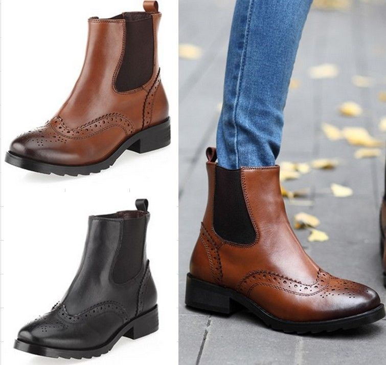 Womens Ladies Real Leather Wing Tip Cuban Heel Chelsea Brogue Ankle Boots  Shoes