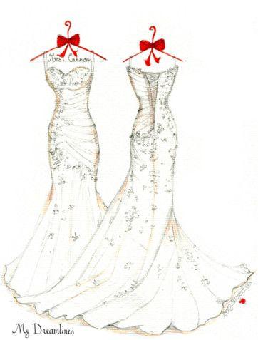 Framed wedding dress sketch images