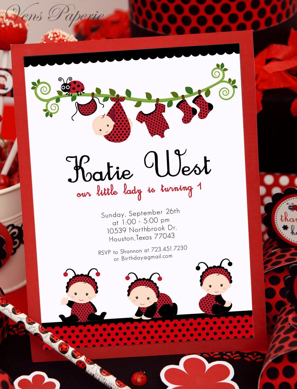 DIY PRINTABLE Invitation Card - Red Lady Bug Birthday Party ...
