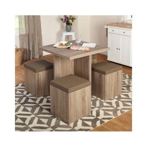 Kitchen Dining Set Table U0026 4 Chairs Storage Ottoman Space Saver Furniture  Modern #Modern. Kitchen Dining Sets5 Piece ...