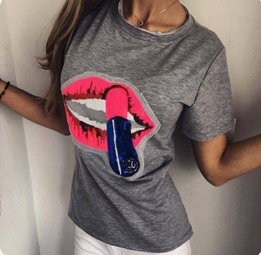 f6de2e3b6 Women Lipstick Printing T-shirt Summer O-neck Back Zipper Long Style T Shirt