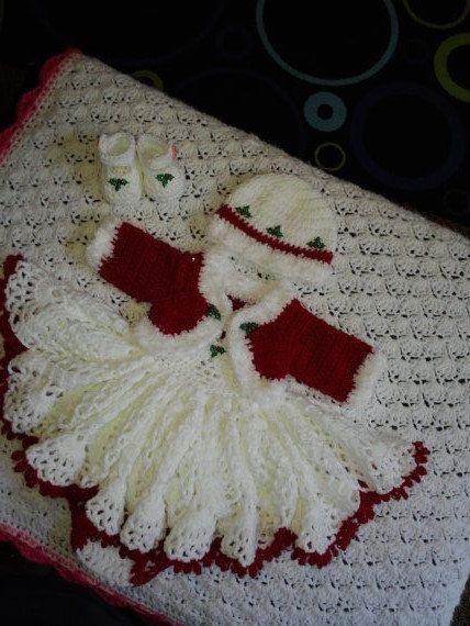 Christmas crochet baby layette with bolero jacket, shoes, panties ...