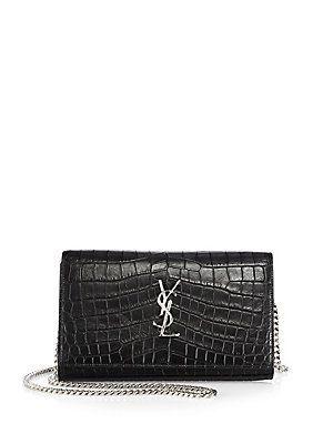 3b20f645aaf0 Saint Laurent Saint Laurent Monogram Medium Crocodile-Embossed Leather  Chain Bag