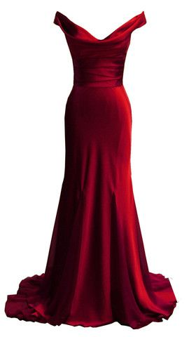 off shoulders red satin gown