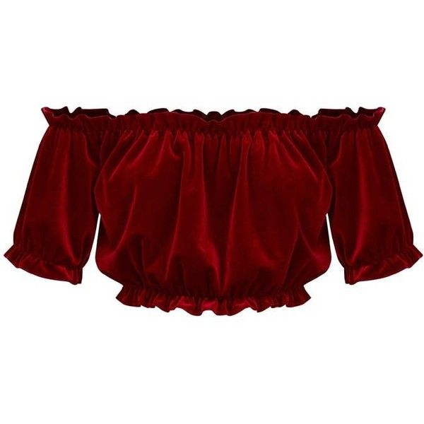 013741dd686cd7 Dark Red Velvet Bardot Crop Top ( 25) ❤ liked on Polyvore featuring tops