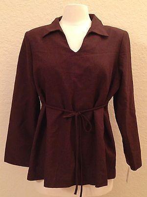 Nautica Woven Cotton L/S Shoulder Padded Pajama Top Sleepwear Brown XXL