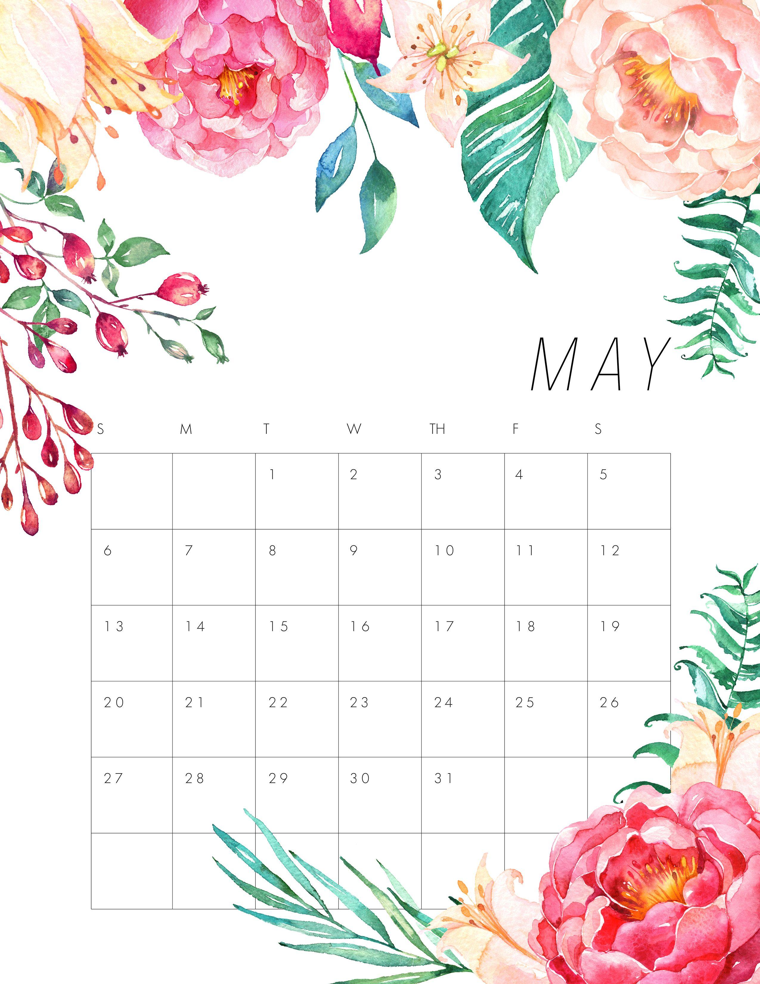 Free Printable 2018 Floral Calendar The Cottage Market Kalendar Dlya Pechati Pechatnye Kalendari Planirovshiki