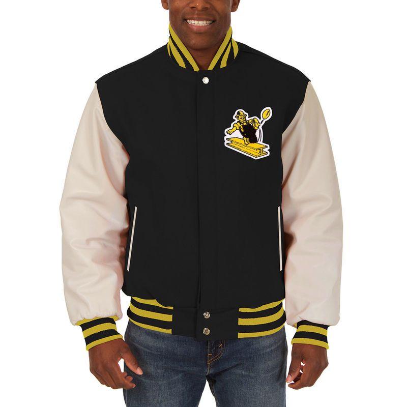 77adb6b41 Pittsburgh Steelers JH Design Domestic Vintage Two-Tone Wool Leather Jacket  - Black