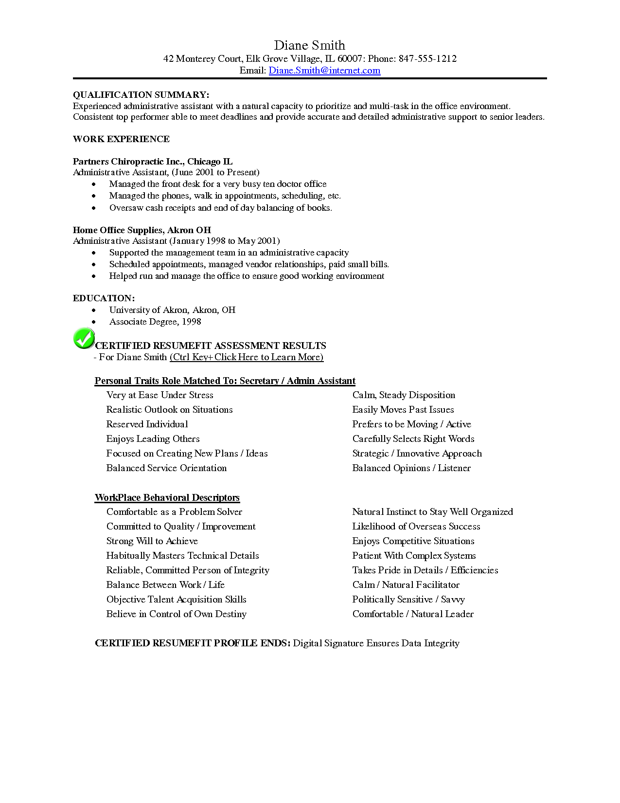 Chiropractic Resume Example