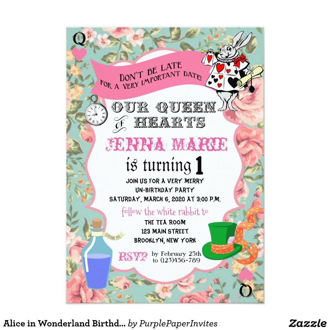 Alice in Wonderland Birthday Invite Queen of Heart | Birthday ...