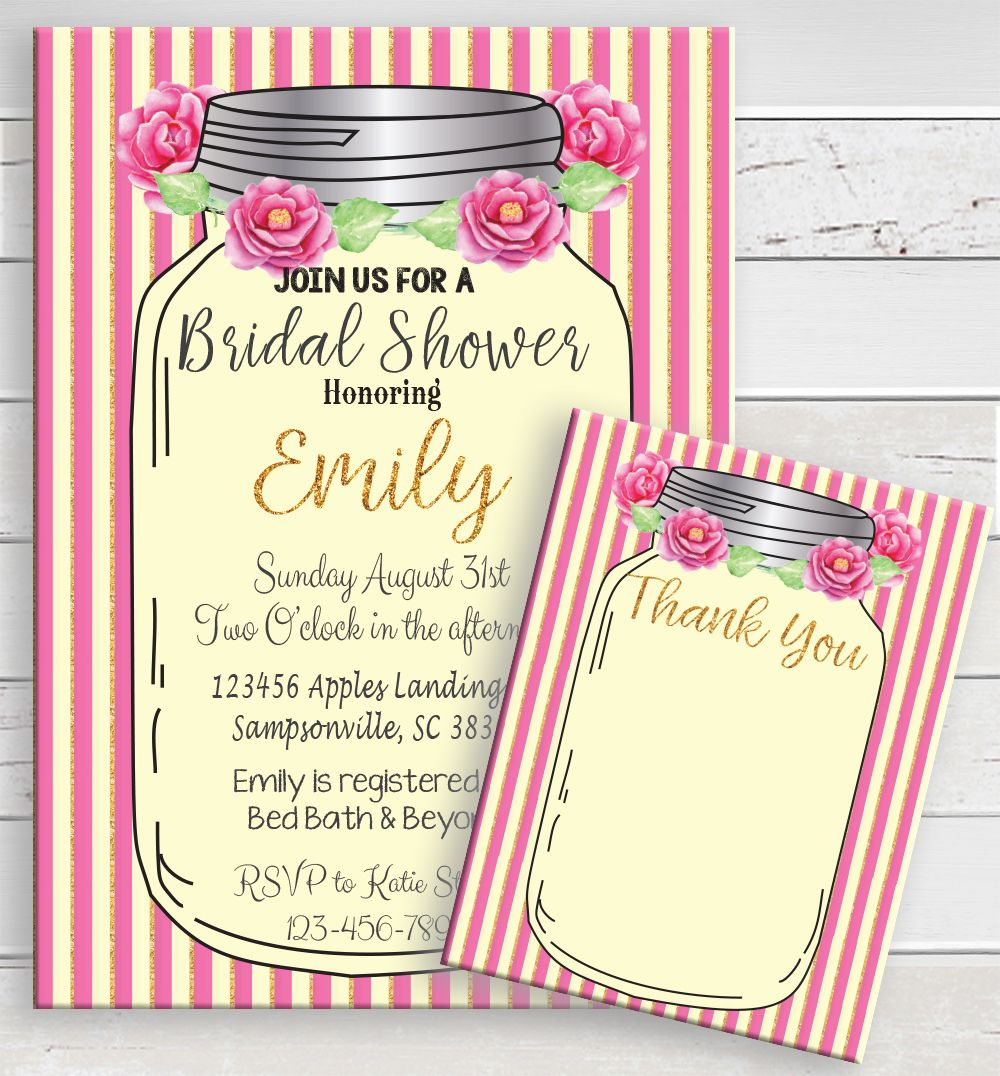 Bridal Shower invitation in a mason jar. Fun pink roses and stripes ...