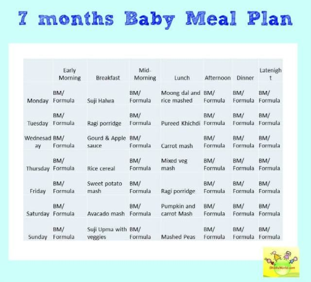 7 Month Baby Food Chart/ Weekly Meal Plan for 7 Months baby and