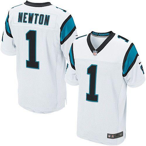 ae835242f Men Nike Carolina Panthers  1 Cam Newton Elite White NFL Jersey Sale ...