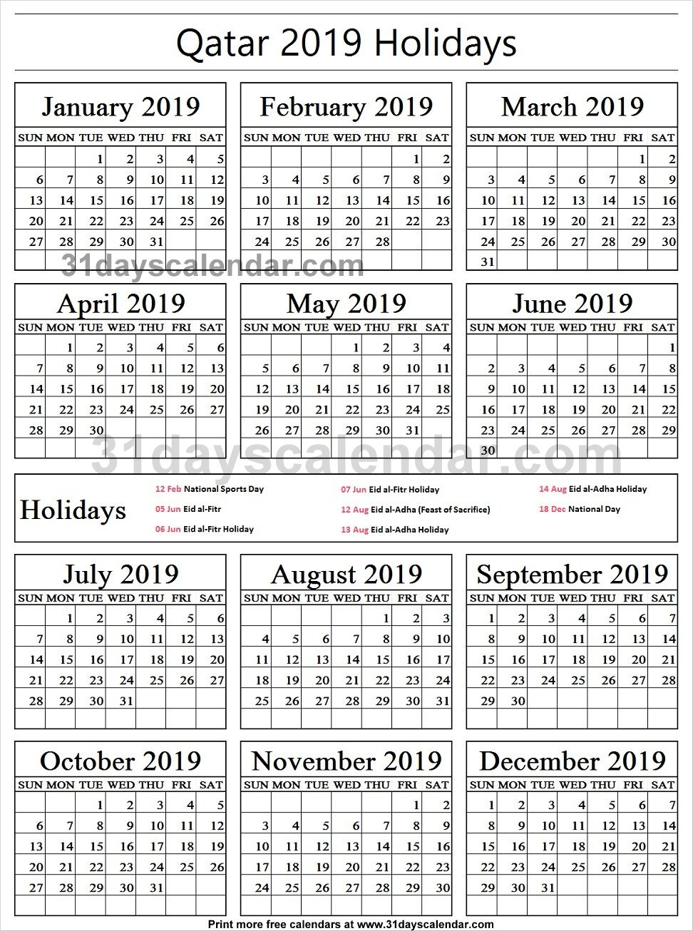 Qatar National Holidays 2019 Calendar With Images Philippine