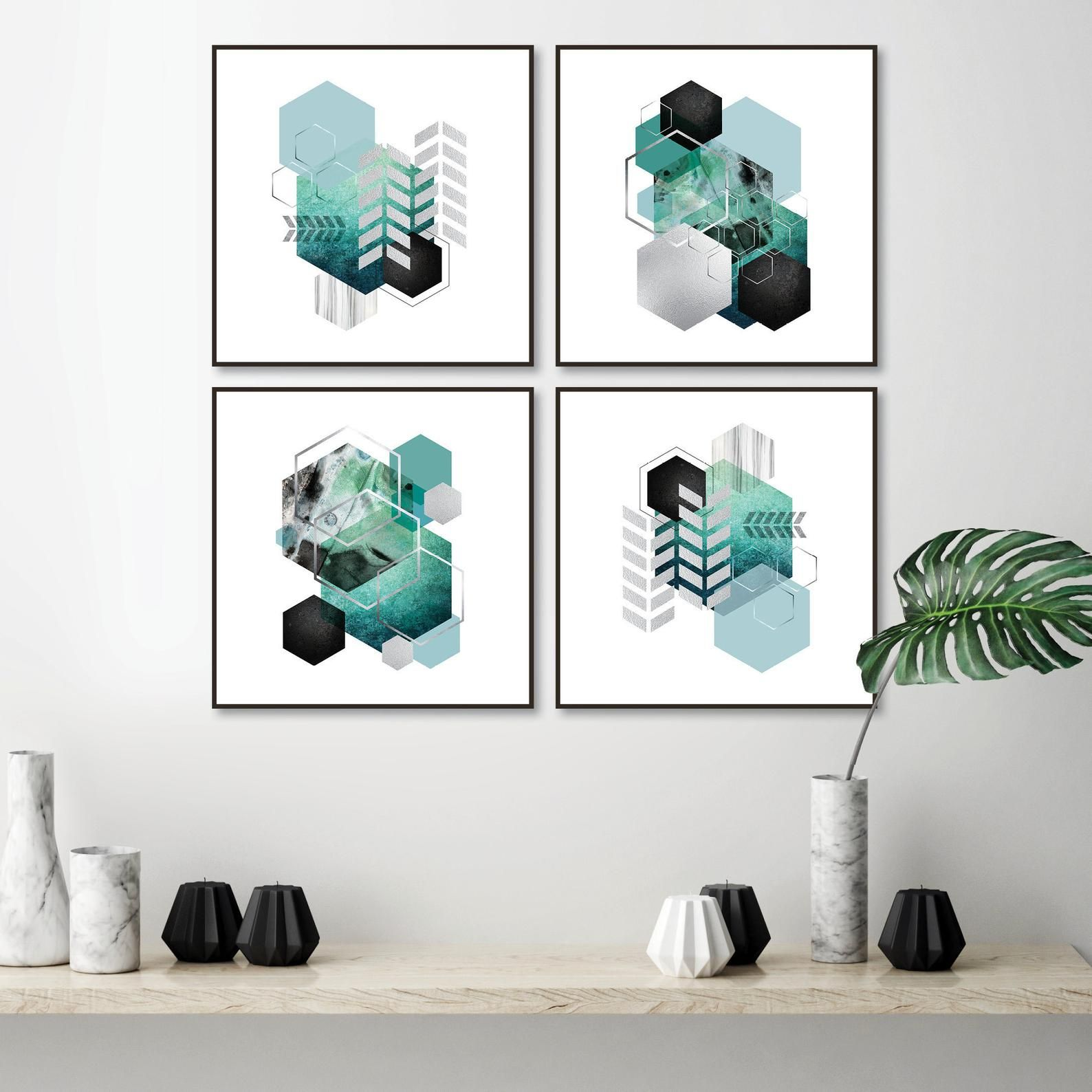 Printable geometric art set of 4 printable wall art geometric