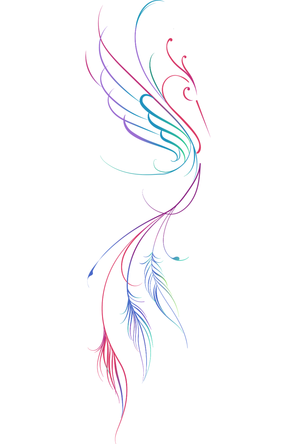 Multi Colored Abstract Phoenix Drawing