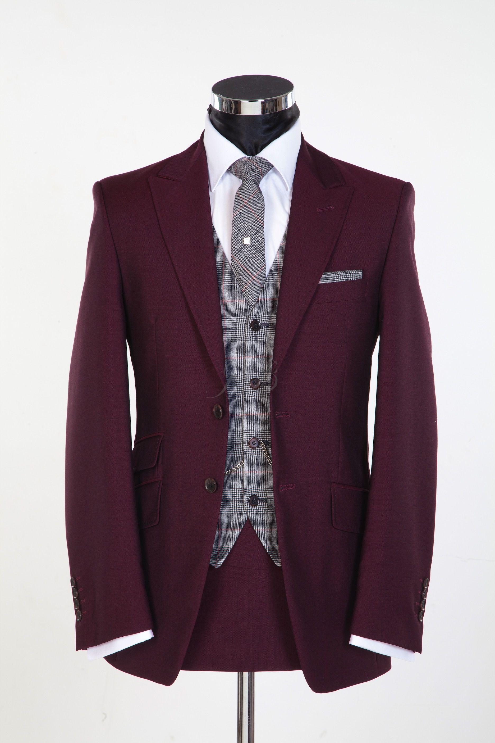 c34f99854278 burgundy vintage style wedding suit   ERKEK MODASI   Burgundy suit ...