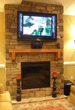 Like rock fireplace with TV mounted | Living Room | Pinterest ...
