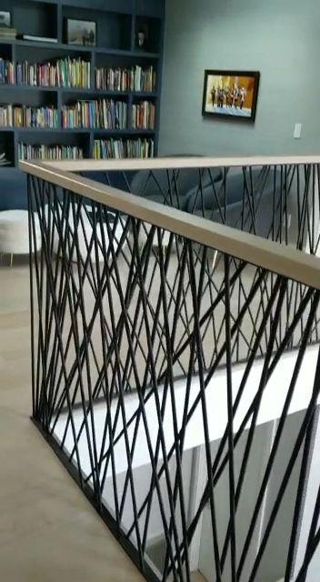 Blackened steel railings
