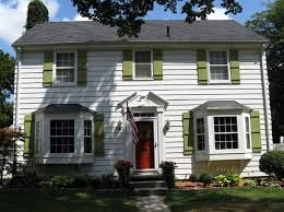White Vinal Siding Green Shutters Red Door Possible