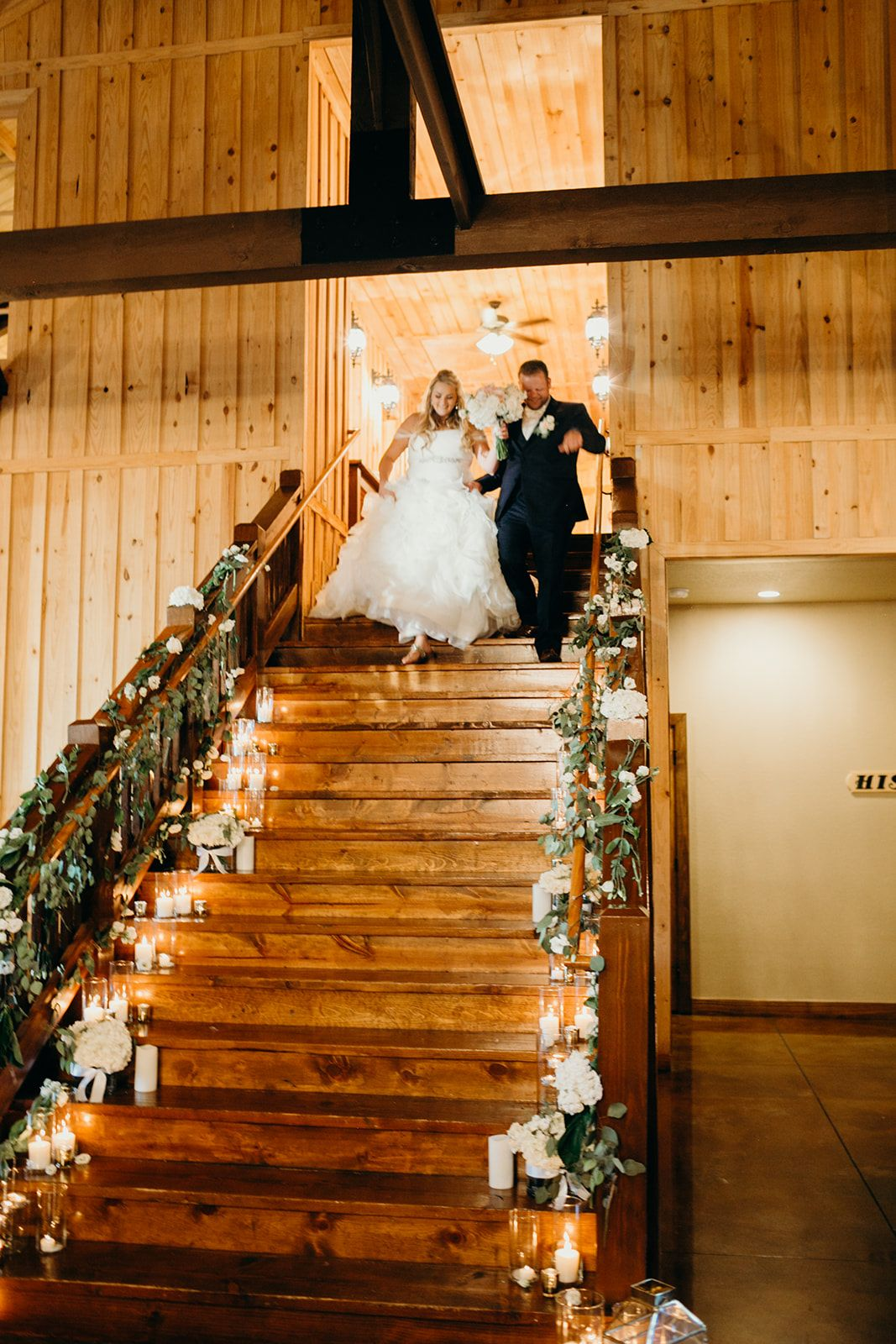 Elegant Wedding Reception Entrance Elegant Wedding Reception Staircase Decor With Candles Gre Oklahoma Wedding Venues Tulsa Wedding Venues Wedding Venues