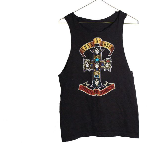 Guns and Roses Grunge Metal Tank Top Vintage Alternative Cross Black... ($28) ❤ liked on Polyvore featuring tops, shirts, tank tops, band, multi color shirt, vintage tank tops, metal tank, destroyed shirt and ripped shirt